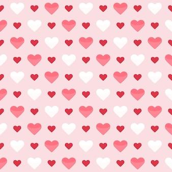 Naadloze patroon met schattige kleurrijke harten op een roze. vector illustratie