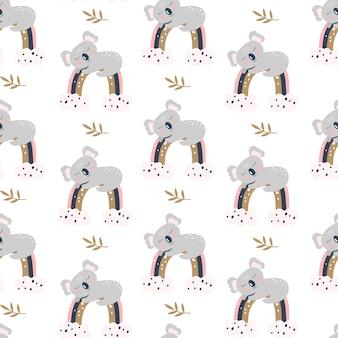 Naadloze patroon met schattige koala op een witte achtergrond.