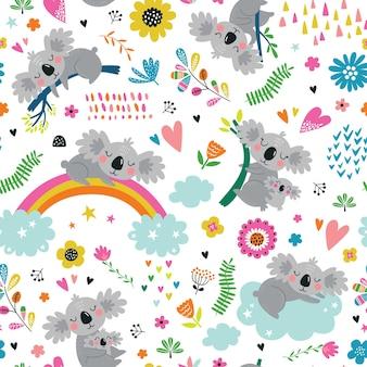 Naadloze patroon met schattige koala.