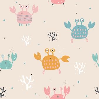 Naadloze patroon met schattige krabben van verschillende kleuren hand getrokken vectorillustratie cartoon stijl