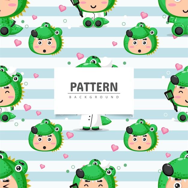 Naadloze patroon met schattige krokodil
