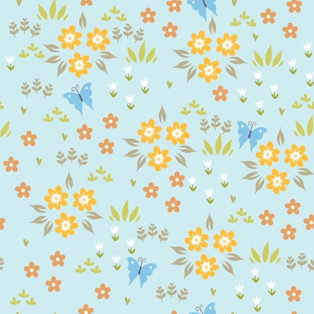 Naadloze patroon met schattige lentebloemen.