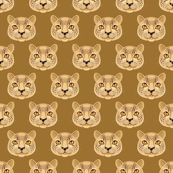 Naadloze patroon met schattige luipaarden een donkere gele achtergrond