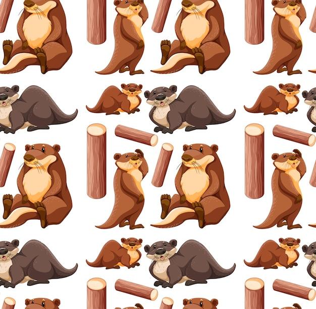 Naadloze patroon met schattige otter in verschillende poses op witte achtergrond