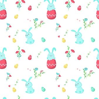 Naadloze patroon met schattige pasen konijnen