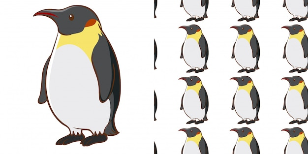 Naadloze patroon met schattige pinguïn