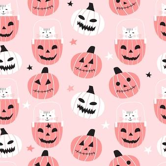 Naadloze patroon met schattige pompoenen en katten. halloween-ontwerp voor stof en papier, oppervlaktestructuren.