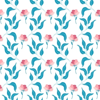 Naadloze patroon met schattige roze platte bloemen en bladeren. hand getekend vectorillustratie op witte achtergrond. textuur voor print, stof, textiel, behang.