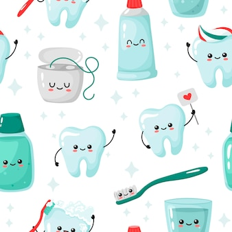Naadloze patroon met schattige tanden en tandheelkundige zorg items op een witte achtergrond. grappige kawaii.