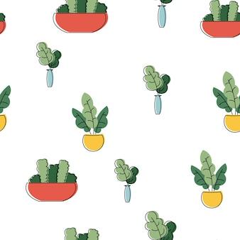 Naadloze patroon met schattige tropische kamerplanten