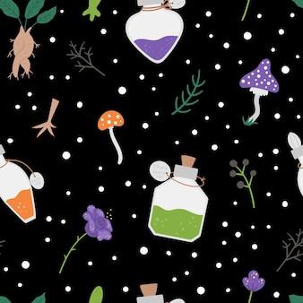 Naadloze patroon met schattige vectorelementen hekserij. digitaal papier met toverdrank makende objecten. halloween pictogrammen achtergrond. grappige herfst alle heiligen vooravond textuur met ketel, kruiden, flessen.