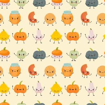 Naadloze patroon met schattige verschillende pompoenen kawaii karakter vectorillustratie in vlakke stijl