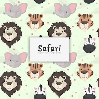Naadloze patroon met schattige wilde dieren. afrikaanse safari. vector illustratie