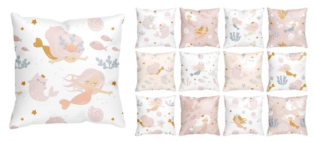 Naadloze patroon met schattige zeemeerminnen voor de kinderkamer van het babymeisje