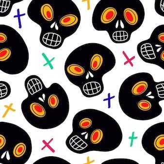 Naadloze patroon met schedels en veelkleurige kruisen. vector illustratie. helder en modieus ontwerp voor halloween, de dag van de doden