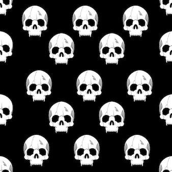 Naadloze patroon met schedels