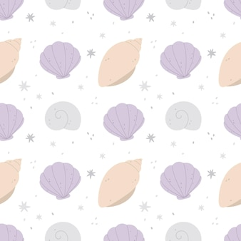 Naadloze patroon met schelpen en sterren