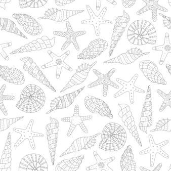 Naadloze patroon met schelpen en zeesterren in een etnische stijl.