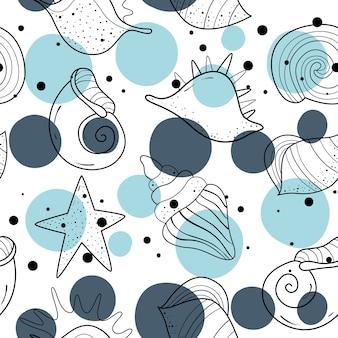 Naadloze patroon met schelpen. scandinavisch motief