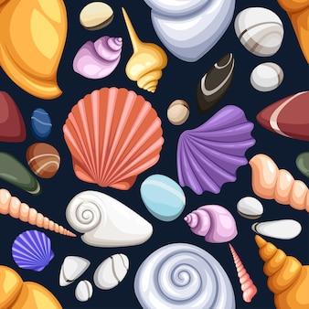 Naadloze patroon met schelpen