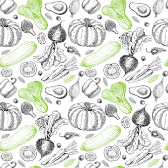 Naadloze patroon met schets van groenten en kruiden. groenten achtergrond. gezond eten. groenten op witte achtergrond. illustratie