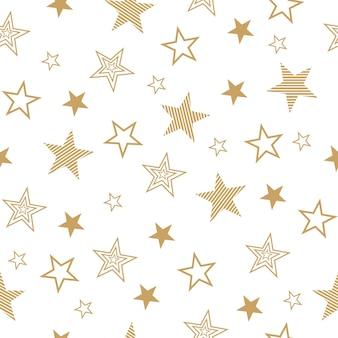 Naadloze patroon met set getekende sterren. vector wallpaper gouden sterren op een witte achtergrond