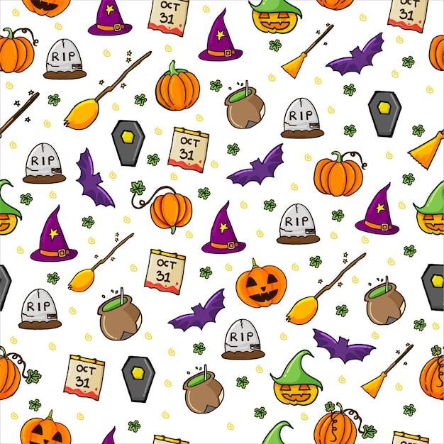 Naadloze patroon met set van halloween achtergrond met dunne omtrek. hand getekend . doodle halloween-feest. Premium Vector