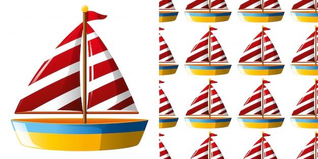 Naadloze patroon met speelgoed zeilboot