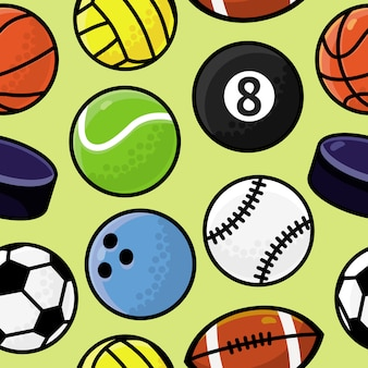 Naadloze patroon met sport ballen