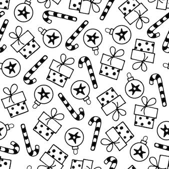 Naadloze patroon met suikerriet geschenkdoos kerst ornament prettige kerstdagen en gelukkig nieuwjaar