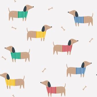 Naadloze patroon met teckels cartoon vector achtergrond met honden