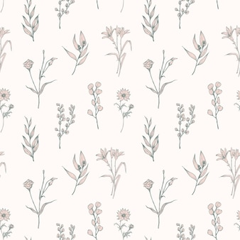 Naadloze patroon met tedere bloeiende bloemen getekend op witte achtergrond