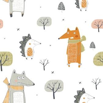 Naadloze patroon met tekenfilm dieren fox wolf en egel hand getrokken vectorillustratie