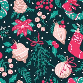 Naadloze patroon met traditionele kerstversieringen en groen.