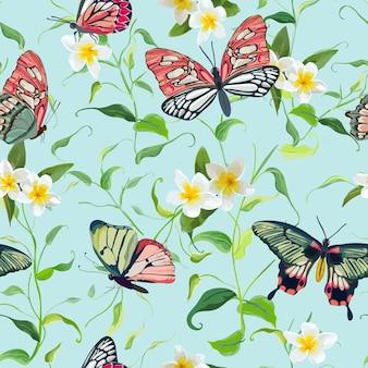 Naadloze patroon met tropische bloemen en vlinders