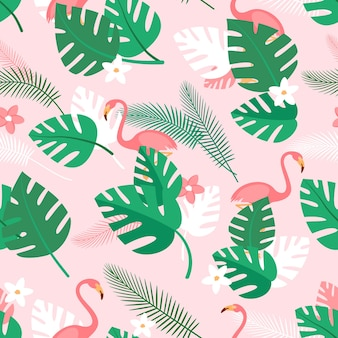 Naadloze patroon met tropische planten bloemen en roze flamingo's zomer achtergrond met groene palm