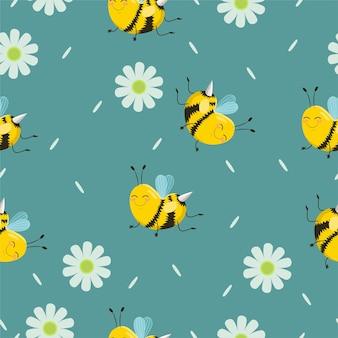 Naadloze patroon met turquoise bijen met bloemen en bloemblaadjes.