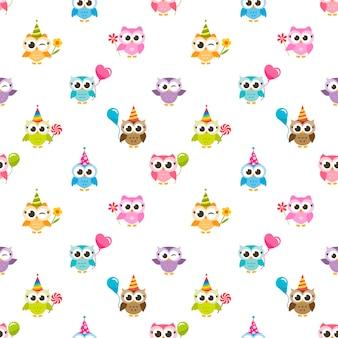 Naadloze patroon met uilen met ballonnen