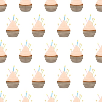 Naadloze patroon met verschillende cupcakes op een witte achtergrond.