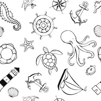 Naadloze patroon met verschillende dieren en mariene objecten. zee of oceaan onderwater leven achtergrond. concept-elementen. vectorillustratie in de hand getekende stijl.