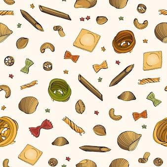 Naadloze patroon met verschillende soorten rauwe pasta op lichte achtergrond