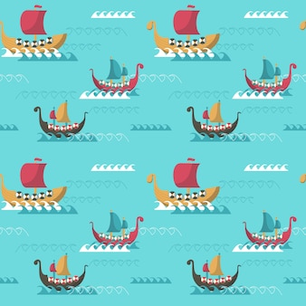 Naadloze patroon met viking leeftijd longships