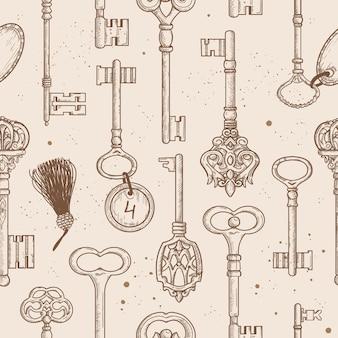 Naadloze patroon met vintage antieke sleutels.