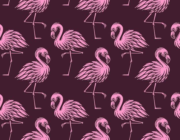Naadloze patroon met vintage flamingo
