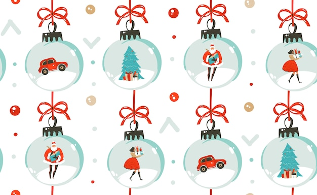 Naadloze patroon met vintage kerstboom speelgoed, mensen en santa claus geïsoleerd op een witte achtergrond