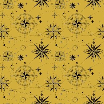 Naadloze patroon met vintage windroos. nautische achtergrond. retro hand getekende vectorillustratie