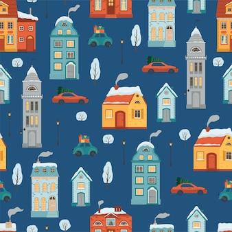 Naadloze patroon met vlakke stijl winterhuizen. kerstvakantie achtergrond met een gezellige stad in retro stijl. vector illustratie