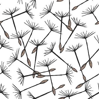 Naadloze patroon met vliegende paardebloem zaden of dopvruchten op pappuses getekend op witte achtergrond. natuurlijke vectorillustratie met bloemdelen voor achtergrond, textieldruk.