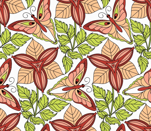 Naadloze patroon met vlinders en bloemen