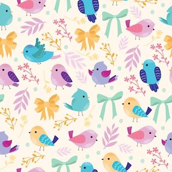 Naadloze patroon met vogels en strikken